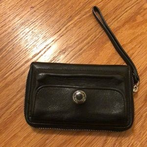 Coach Black Leather Wallet Wristlet